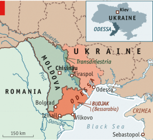 Map of Southern Ukraine, Bessarabia, Transn(d)istria, Moldova